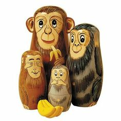 Bits and Pieces Nesting Monkeys Hand Painted Wooden Nesting Dolls - Set of