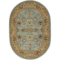 Handmade Heritage Mahal Blue/ Gold Wool Rug (4'6 x 6'6 Oval) | Overstock™ Shopping - Great Deals on Safavieh Round/Oval/Square