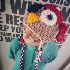 Pirate Owl crochet hat