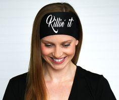Black killin' it graphic workout headband by WildandFreeFashion