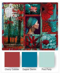 Colour INKspiration #09 – addinktive designs ... two blues and deep red ...