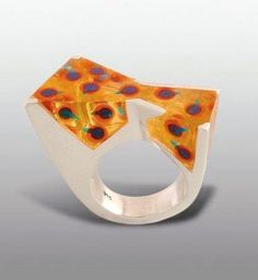 'Jellyfish' ring by Moshe Botser. Sterling silver, orange enamel with blue balls and translucent resin.