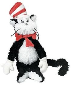 """Dr. Seuss Cat in the Hat! This beloved Dr. Seuss character comes to life in this ultra-soft, extra-billowy #CatInTheHat soft toy from #ManhattanToy. A timeless, huggable companion or an eye-catching complement to any nursery, the Cat in the Hat 9"""" (sitting) soft toy makes a perfect gift for little ones or older ones."""