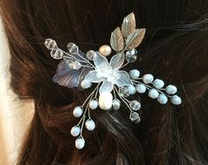 Bridal hair pin silver headpiece wedding silver by FlowerRainbow