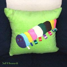Large Caterpillar Tagged Bean Bag Cushion Green Stuff N Nonsense
