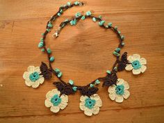 crochet flower necklace short turquoise white brown by PashaBodrum