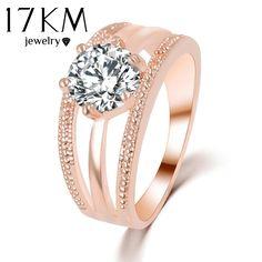 17 KM Pha Lê Áo Nhẫn Rose Gold Màu anelli Hoa Nhẫn bague Engagement anillos Nhẫn anel cho Phụ Nữ cưới nhẫn