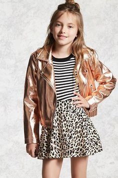 Forever 21 Girls - A metallic faux leather moto jacket featuring an asymmetrical zipper front, notched collar, front zippered pockets, and an elasticized hem.