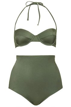 Topshop Khaki Sky Waist Bikini | Community Post: 16 Styles For The High-Waisted Swimsuit Trend Of Summer