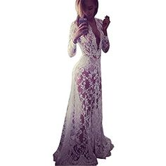 Fedi Apparel Women Summer Beach Transparent Sundress Lace Floral Long Maxi Dress Formal Gown White Asian M ** Want additional info? Click on the image.