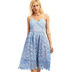 blue crochet dress, hollow out fit, lace cami dress, flare crochet dress - Lyfie