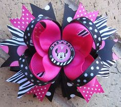 Minnie Mouse Pink Black Zebra Boutique Hair Bow by Asil328 on Etsy, $9.99