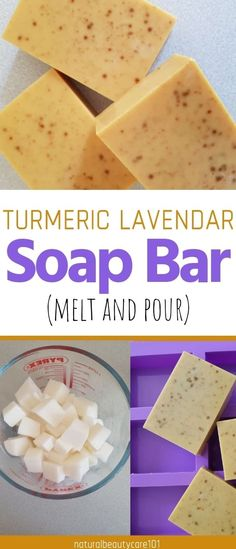 An easy Melt and Pour Recipe. Turmeric and Lavender Soap Bar Diy soap organic Turmeric Soap Bar DIY - Melt and Pour Recipe The Melting Pot, Fondue Restaurant, Diy Tumblr, Diy Bar, Turmeric Soap, Soap Melt And Pour, Shea Butter Soap, Homemade Soap Recipes, Lavender Soap