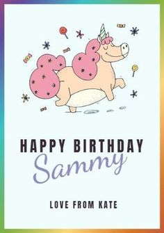 A funny illustration of a cute unicorn on a light blue background color, framed with rainbow colors. Create your own birthday card in minutes. Unicorn Cards, Light Blue Background, Funny Illustration, Cute Unicorn, Happy Birthday Cards, A Funny, Rainbow Colors, Colorful Backgrounds, Create Your Own
