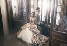 floral concept wedding dress looks stunning in the Korean style pre wedding photography