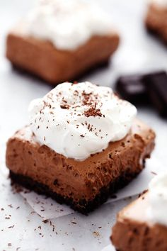 French silk pie bars are rich, creamy, and smooth and made with a chocolate graham cracker crust.This classic dessert is ...