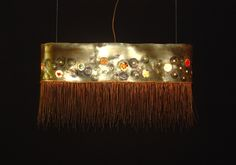 HANGING LAMP handmade ceiling lamp RAINFALL LONG made by brass and handmade glass beads Ceiling Lamp, Ceiling Lights, Handmade Lamps, Glass Beads, Chandelier, Brass, Home Decor, Candelabra, Decoration Home