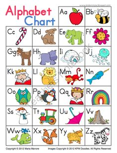Cute and Simple Alphabet Chart from Kinder Craze on TeachersNotebook.com (1 page) - Student reference chart displays all letters of the alphabet and a coordinating picture for easy reference.