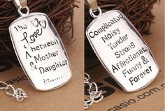 """""""The Love Between a Mother & Daughter"""" Necklace Mom Mothers Day Gift Silver Tone #Mom #Mother's Day #Pendant"""