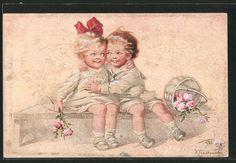 Vieux-artistes-AK-wally-Fialkowska-enfants-dans-mes-bras-se-sur-un-banc-roses