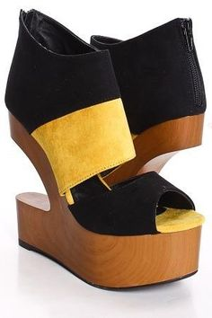 yellow two tone cut out  #shoes #wedge #sandals  $25
