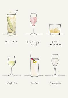 Drinks, Weekend, Moscow Mule, Rosé Champagner, Whiskey on the rocks, Eiswürfel, Weißwein, Gin Fizz, Champagner, Illustration, Kera Till