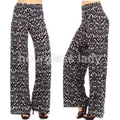 """Plus Size Tribal Palazzo Pants ~ Avail in 1X-3X Plus Size Tribal Print Palazzo Pants ~ Avail in 1X-3X  Perfect for the office, casual wear or a night on the town  Super comfy, flowy wide leg style  Wear high waisted or folded over  Size 3X (22/24)  96% polyester, 4% spandex – amazing stretch & comfort  Waist 18"""" across, Outseam 48"""", Inseam 34""""  Price firm unless bundled  Create a bundle for 15% off! Thanks for looking✌️❌NO PAYPAL❌NO TRADES❌ Hourglass Lady Pants Wide Leg"""
