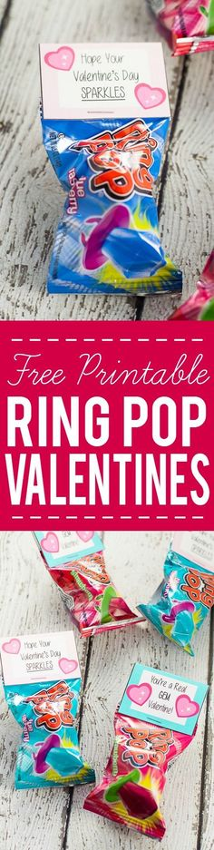 Free Printable Ring Pop Valentines for Kids - Free Printable Ring Pop Valentines that are easy to put together and perfect for kids to hand out at their school Valentine's Day party. #easycraftforkids