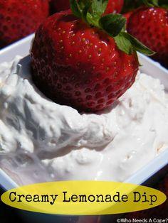 Creamy Lemonade Dip - perfect summer snack!  Kids will love it! #kidfriendlyfood #dip #snack