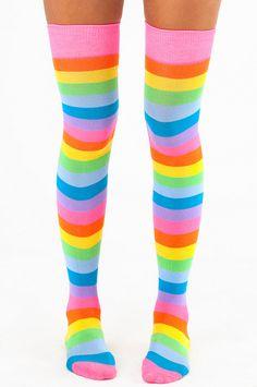 Really Rainbow Thigh High Socks