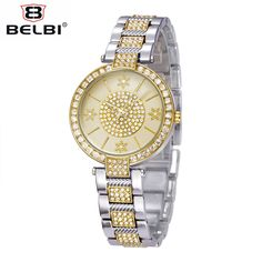 BELBI Brand New Luxury Stainless Steel Watch Women Snow Flower Pattern Casual Quartz Wristwatch Ladies Mature Style Dress Watch
