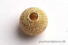 Perle, forgyldt, stardust, 8 mm, 6 stk.