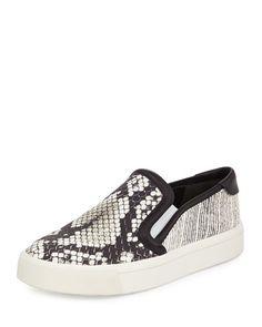 Bram Snake-Print Platform Sneaker, Black/White