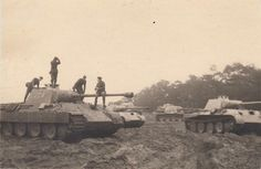Original photo of six Panthers outside Magdeburg, Germany 1944