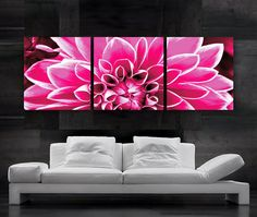 LARGE 20x 60 3 panels Art Canvas Print  Flower Summer by BoxColors, $99.00 - lOVE! AlSO A GREAT HEADBOARD.