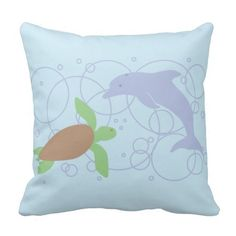 Sea Turtle and Dolphin Pillow #sea #turtle #dolphins #ocean #animals