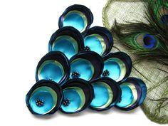 Satin fabric handmade sew on flower appliques 10pcs by Juja, $15.00