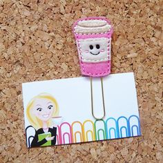 Felt COFFEE Bookmark  PINK Paper Clip  Coffee by TheBookNookPatch