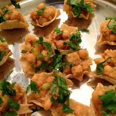 "Indian appetizers: Masala chick peas & apple in Tostitos ""scoops"""