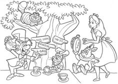 alice in wonderland tea party coloring pages.html