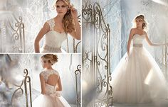 Mori Lee Bridal  lace ball gown w/ belt and lace coverlet covers 2 2015 #BridalGown Trends - lots of lace and ball gown styles