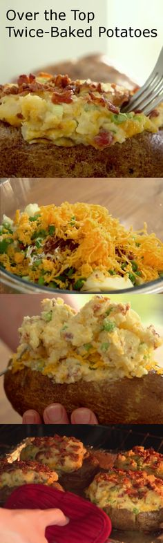 Over the Top Twice-Baked Potato Recipe | Wow your dinner guests with these ooey, gooey potatoes. Stuffed with sour cream, green onions, bacon crumbles and cheese, they are sure to please! #sponsored