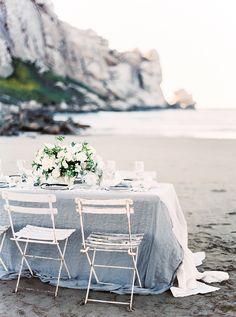 Photography: Sally Pinera - sallypinera.com Styling: Kelly Oshiro - kellyoshiro.com Floral Design: Poppy Design Co - poppydesignco.com   Read More on SMP: http://www.stylemepretty.com/2016/01/19/coastal-winter-white-wedding-inspiration/