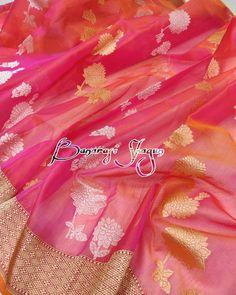 Loving this bright and cheerful kora silk Banarasi saree WhatsApp Silk Saree Banarasi, Blue Silk Saree, Kora Silk Sarees, Bridal Silk Saree, Organza Saree, Saree Wedding, Traditional Silk Saree, Saree Draping Styles, Modern Saree