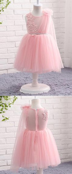 NEW! In Stock Lovely Tulle Jewel Neckline Ball Gown Flower Girl Dresses With Lace Appliques & Belt