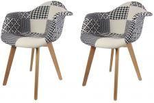 Lot de 2 chaises scandinaves avec accoudoir patchwork bicolores MUSTIA