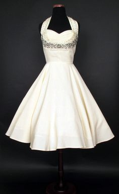 1950's Beaded Halter Party Dress