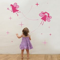 If you're set on pink kids room theme, we suggest using the fairies wall decals, a combination of shades of pink and fuchsia that will create imaginary scene. Baby Wall Stickers, Nursery Wall Decals, Kids Wall Decor, Room Decor, Bedroom Wall Designs, Baby Fairy, Pink Kids, Room Themes, Girl Room