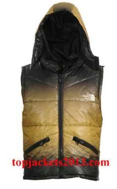 The North Face Outlet Mens Summit Series Hoodie Down Vest Yellow Black