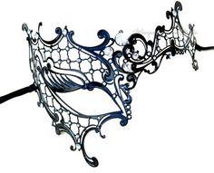 Black  Masquerade mask- Luxury Venetian Filigree Laser Cut Half Face Phantom Mask for Women on Etsy, $43.90